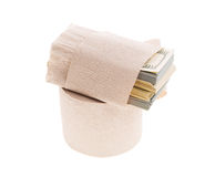 Money and toilet paper Stock Photos