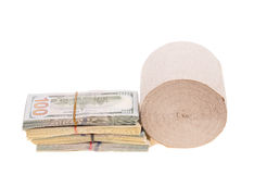 Money and toilet paper Royalty Free Stock Photography