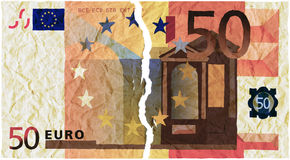 Money torn. Illustration with a fifty-euro torn in two vector illustration