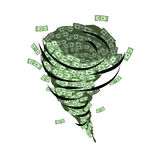Money tornado. Whirlwind of dollars. Hurricane cash.  Stock Image