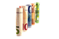 Money tower. S composed by 5, 10, 20, 50 and 100 banknote billet stock photos