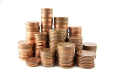 Money tower. S composed by 1 cent, 2 cent and 5 cent euro coins stock photography