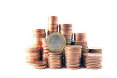Money tower. S composed by 1 cent, 2 cent and 5 cent euro coins royalty free stock image