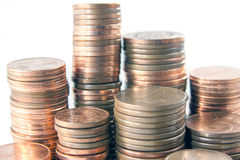 Money tower. S composed by 1 cent, 2 cent and 5 cent euro coins royalty free stock photos