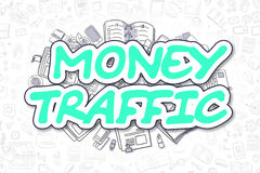 Money Traffic - Cartoon Green Word. Business Concept. Stock Photos