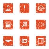 Money trail icons set, grunge style. Money trail icons set. Grunge set of 9 money trail vector icons for web isolated on white background Royalty Free Stock Photography