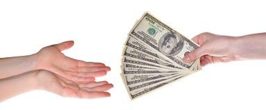 Money tranfer isolated on white. Background Stock Photos
