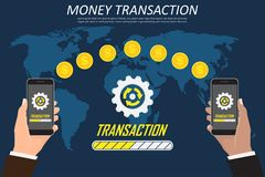 Money transaction around world, business, mobile banking and mobile payment. Hand holding smartphone on a world map Royalty Free Stock Images