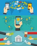 Money transaction banner concept set, flat style. Money transaction around world banner concept set. Flat illustration of 3 money transaction around world vector Stock Photos