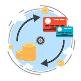Money transaction, currency exchange, credit card concept Stock Photos