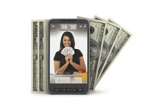 Money transactions by cell phone Royalty Free Stock Photos