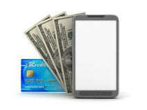 Money transactions - concept illustration. Money transactions - mobile phone, dollar bills and credit card Stock Images