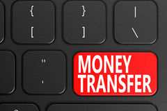 Money Transfer on black keyboard Royalty Free Stock Images