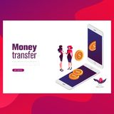 Money transfer concept. Can use for web banner, infographics, hero images. Flat isometric vector illustration vector illustration