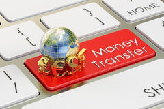 Money Transfer concept on red keyboard button, 3D rendering Royalty Free Stock Image