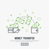 Money transfer concept. Two leather wallets with banknotes transferring. Receiving and sending money from one wallet to another. Modern line style vector Royalty Free Stock Photos