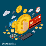 Money transfer, financial transaction, online banking, currency exchange vector concept Royalty Free Stock Image