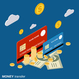 Money transfer, financial transaction, online banking vector concept. Money transfer, financial transaction, online banking flat isometric vector concept Royalty Free Stock Photography