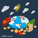 Money transfer, financial transaction, online banking vector concept Royalty Free Stock Image