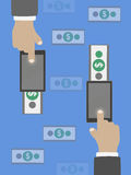 Money transfer in flat design Royalty Free Stock Photography
