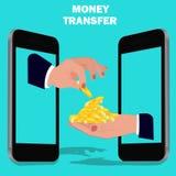 Money transfer, flat design, vector illustration. Vector illustration of money transfer concept Stock Images
