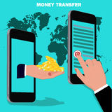 Money transfer, flat design, vector illustration Royalty Free Stock Photo