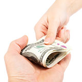 Money transfer hands on white background. Royalty Free Stock Images