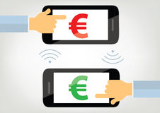 Money transfer with mobile phone concept illustration Stock Photography