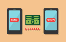 Money transfer from phone to phone Royalty Free Stock Photography