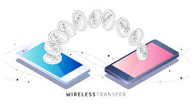Money transfer between phones. Isometric concept of mobile payment. Money transfer between phones. Wireless technology. Vector illustration Stock Photos