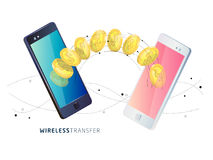 Money transfer between phones. Isometric concept of mobile payment. Money transfer between phones. Wireless technology. Vector illustration Stock Images
