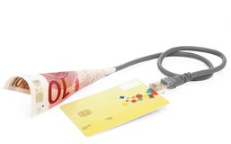 Money transfer shopping. Money transfer from the card Royalty Free Stock Photography