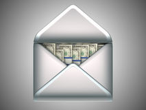 Money transfer - US dollars in opened envelope Stock Photography