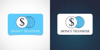 Money transfer vector logo, icon. Template design with plastic card for global money transfers and web banking Royalty Free Stock Photo