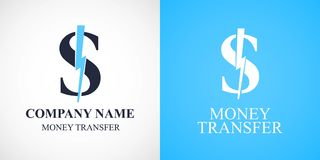 Money transfer vector logo, icon, symbol. Template design with dollar for web banking and fast money transfers Stock Image