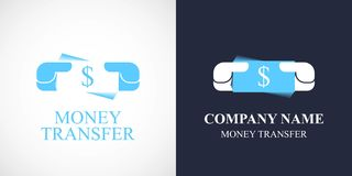 Money transfer vector logo, icon. Template symbol with banknote for fast money transfer Royalty Free Stock Photo