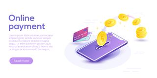 Money transfer via cellphone in isometric vector design. Digital. Payment or online cashback service. Mobile banking transaction cocnept. Withdraw money with Royalty Free Stock Image