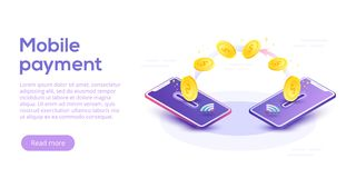 Money transfer via cellphone in isometric vector design. Digital. Payment or online cashback service. Mobile banking transaction cocnept. Withdraw money with Royalty Free Stock Photography
