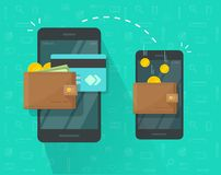 Free Money Transfer Via Mobile Phone Vector Illustration, Flat Person Hands Via Smartphones With Cash Wallets, Coins And Royalty Free Stock Image - 126514116