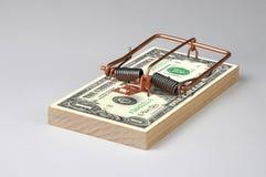 Money Trap. Photo of a Money Mouse Trap as bait Stock Photos