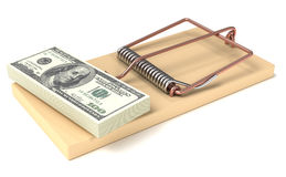 Money trap. Money in Mousetrap. High quality 3d render Royalty Free Stock Photos