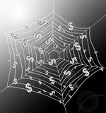 The money trap. Illustration depicting a spiderweb with Dollar signs trapped by the threads. Dark with strong sunlight background Royalty Free Stock Photography