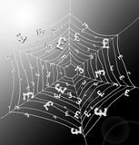 The money trap. Illustration depicting a spiderweb with Pound signs trapped by the threads. Dark with strong sunlight background Stock Images