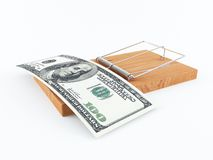 Money trap. 3D rendering of a mouse trap with a 100 dollar bill Stock Photos