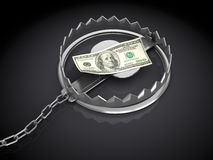 Money trap. 3d illustration of trap with dollar banknote, over black background Stock Image