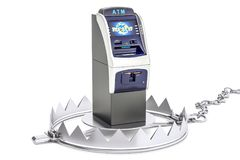 Money trap with ATM machine, 3D rendering. Isolated on white background Stock Photos