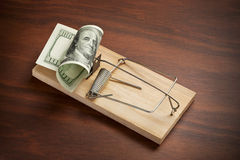 Money Trap Business Finance Gig. A conceptual image of American money set in a mouse or rat trap Stock Photo