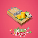 Money trap. Business trap concept with typographic -. Illustration Royalty Free Stock Image