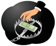 Money trap. Businessman hand is trying to get money from the trap. Investment risk Stock Images
