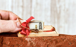 Money Trap. Closeup of a human hand grabbing a twenty dollar bill that has been rolled up inside a red bow, from a mouse trap that has been triggered and now has Stock Photo